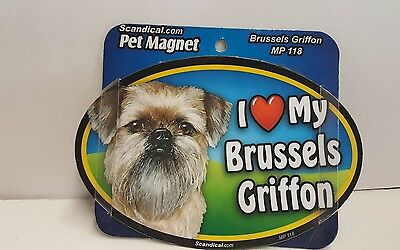 "Scandical I Love My BRUSSELS GRIFFON Dog Laminated Car Pet Magnet 4"" x 6"" MP 118"