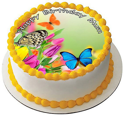 BUTTERFLY FLOWER 7.5 PREMIUM Edible ICING Cake Topper CAN BE PERSONALISED D1