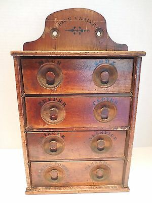 Antique Pine Wood Old Primitive 4 Drawer with Dividers Spice Cabinet 1800s