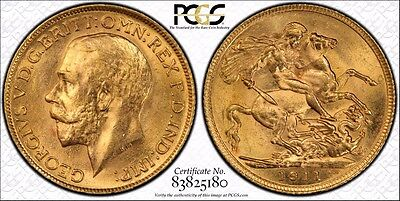 1911 Great Britain Sovereign - Pcgs Certified Ms63 Gold Coin * Free Shipping*