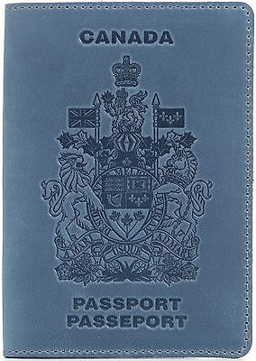 Shvigel Passport Cover - 100% Genuine Leather - Arms of Canada Embossing - for