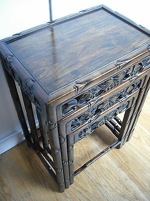 Chinese Victorian Nest of 3 Small Carved Hardwood Tables [rosewood/ironwood]
