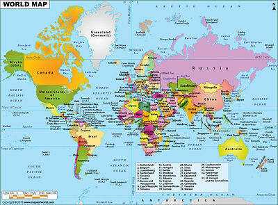 "World Political Map (Wall Map) 36"" x 26"" Laminated"