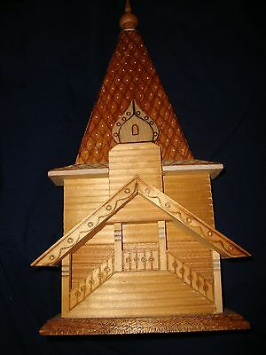 Vintage Collectible Russian handmade carved wood church with tags