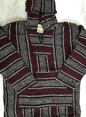 Boys Mexican Baja Hoodie Pullover  Children Girls Unisex Medium Burgundy-Black