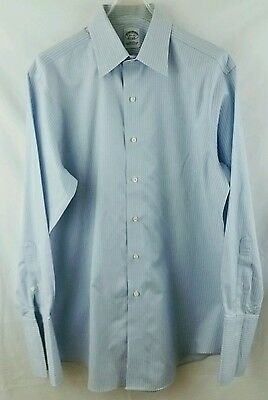 Brooks Brothers size 15.5 33 men's shirt blue white non iron cotton french cuff