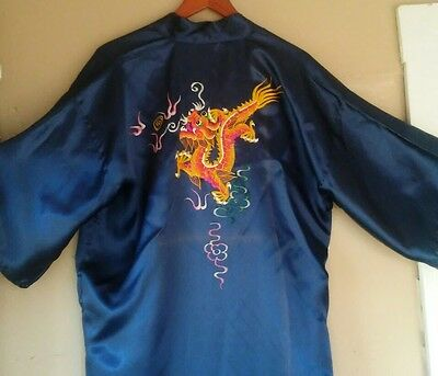 Vintage Kimono Jacket Robe Silky Embroidered Dragon Chinese Oriental Boho L