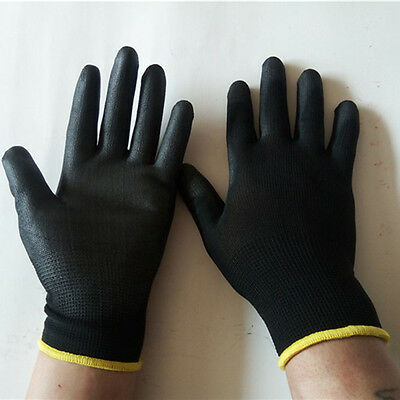 12 Pairs Antistatic Nylon Workers Work Gloves Hand Protect Palm Coated Black New