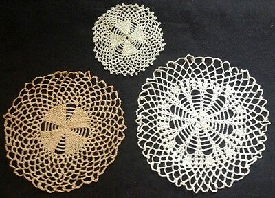 Three Adorable  Ecru, White, and White Silk Crochet Doilies Scalloped Edges