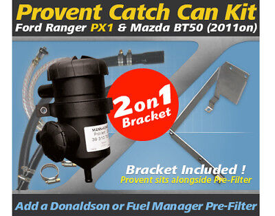 ProVent Catch Can Kit for 2011 on Ford Ranger PX 2.2L 3.2L Mazda BT50 incl.Brkt