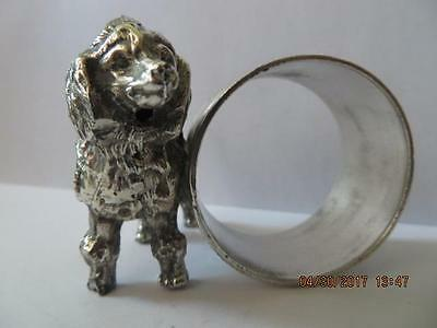 Victorian 1900's Silver Plated Napkin Ring Poodle Dog Next to N/R No Info. #39
