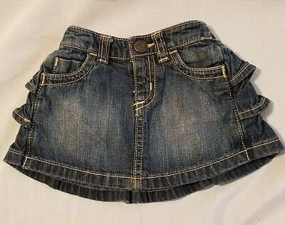 EUC Baby Old Navy Blue jean denim Skirt With Ruffles Infant Girls Size 3-6 Mo