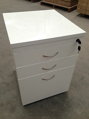 Office 3 Drawer (2 Storage + 1 File Drawer) Mobile Pedestal- White Gloss