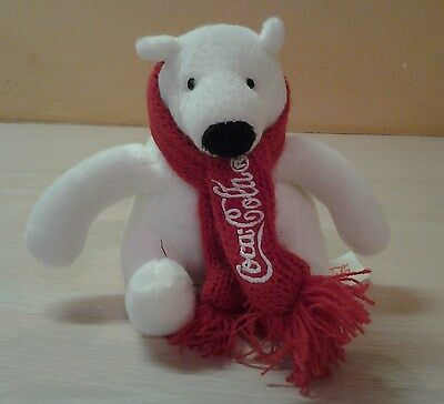 "White Polar Bear Coca Cola Scarf and tag Plush 4.5"" stuffed animal toy"