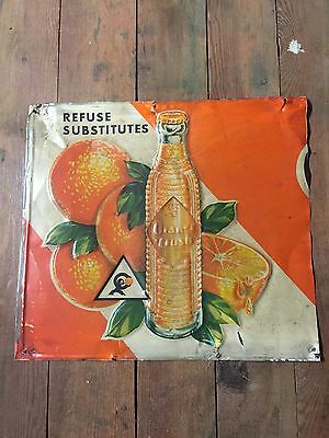 VINTAGE ORANGE CRUSH BOTTLE SIGN Crushy Sundrop Cheerwine Pepsi Mountain Dew 7up