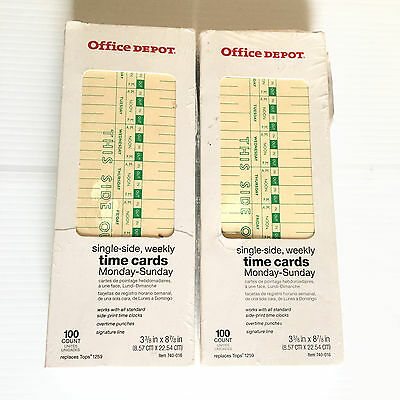 2 Pks 100ea Office Depot Time Cards 740-016 Weekly Mon-Sun Format 1 Sided Manila