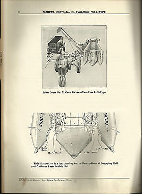 John Deere Two Row Pull-Type Corn Pickers No. 21 Parts Catalog