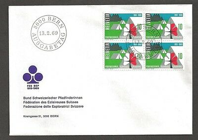 1969 Switzerland Scouts Girl Guides FDC block