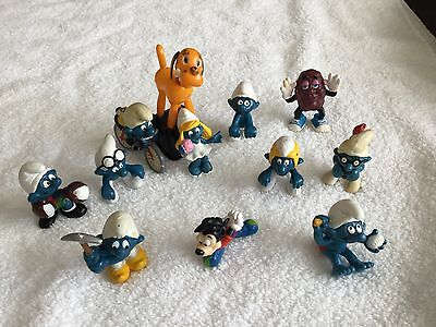 Lot of Vintage Smurfs Peyo Schleich (9) with Other Toy Figures