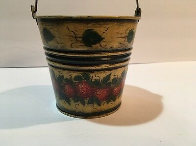 Warner Wrede Toleware Tole Painting Small Tin Pail Strawberries