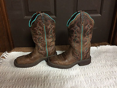 Justin Gypsy Women Brown Western Square Toe Distressed Boots Size 6 B **L2900