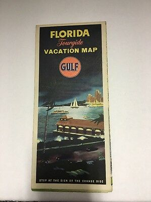 1950's Vintage Gulf Florida Vacation Tourguide Road Map Cuba Included