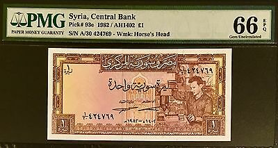 Syria Banknote 1 Pound (1982). Graded By PMG (66) Gem Uncirculated