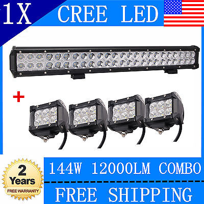 23INCH 144W SPOT FLOOD WORK DRIVING LED LIGHT BAR TRUCK+4X 4''INCH 18W Pods Cube