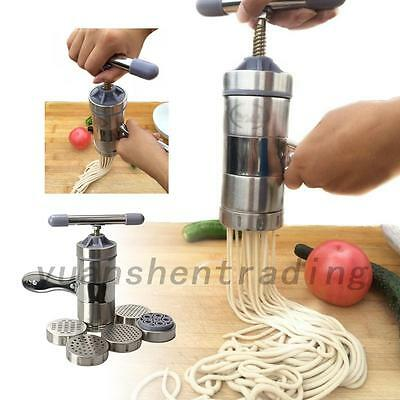 5 Molds Manual Pasta Noodle Maker Spaghetti Press Machine Stainless Steel