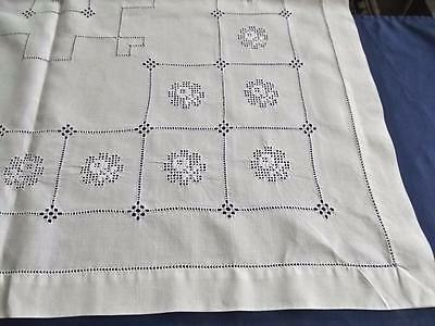 "Antique Linen Overlay Pillow Sham Geometric Hand Whitework 29""Square Centerpiece"