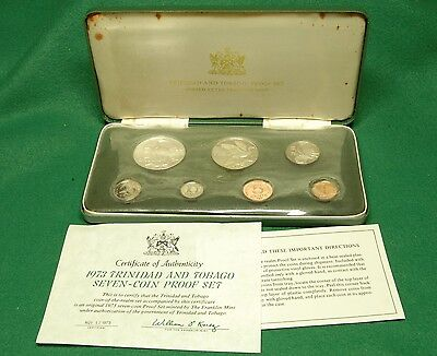 1973 Trinidad and Tobago Proof Coin Set with Case and COA
