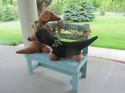 Red/Brown & Black & Tan Dachshund s on Wood Bench with  garland of flowers Decor