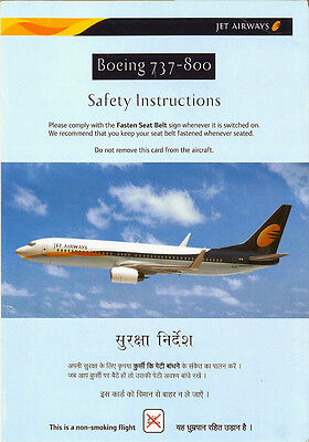 JET AIRWAYS Boeing 737-800 - Safety Card Instructions India Airline Aircraft