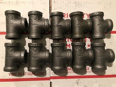 "1/2"" Black Malleable Iron Pipe Threaded Tee Fittings Plumbing (10) Pcs"