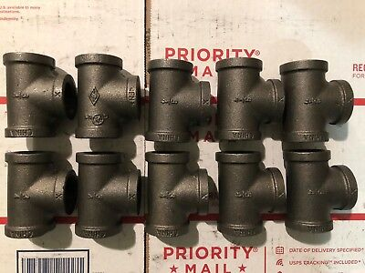Lot Of (10) 3/4 Inch Black Malleable Iron Pipe Threaded Tee Fittings Plumbing