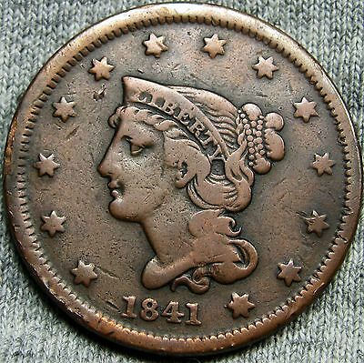 1841 Braided Hair Large Cent Penny --- TYPE COIN --- #D898