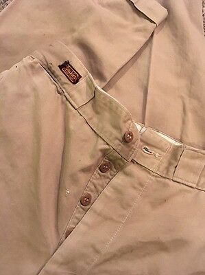Vintage 1950's Dickies Army Cloth Khaki Work Pants Trousers button Fly 30x33