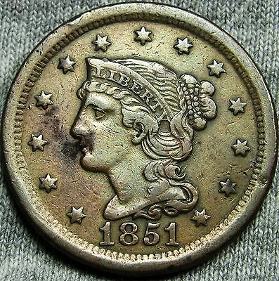 1851 Braided Hair Large Cent Penny --- TYPE COIN --- #D901