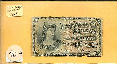 1863 Fractional Currency 10C United States Banknote