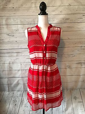 Women's Rewind Red and White Sleeveless Dress Size M READ
