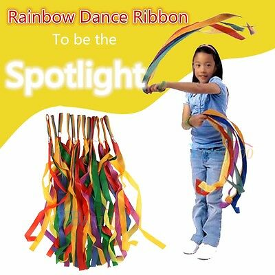 Rainbow Dance Ribbon Children Toys Rhyth Gym Streamer Cheerleading Rod Handheld