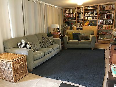 Grey Couch Set, 3 Seater And 2 Seater