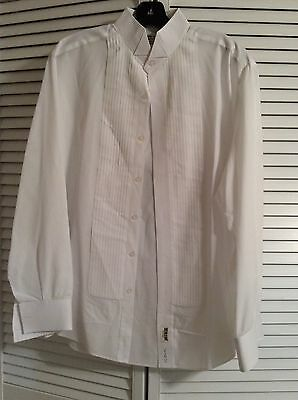 White Tuxedo Wing Tip Collar Formal Easy Fit Dress Shirt Sz L