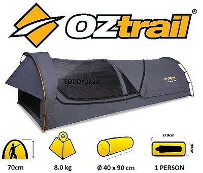 Oztrail Mitchell King Single - Charcoal - Canvas Dome Swag Brand New