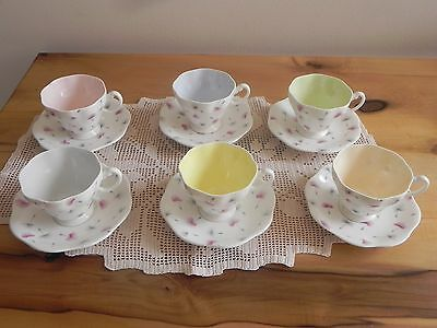 Vintage Foley Thistledown Harlequin Demitasse Set of 6