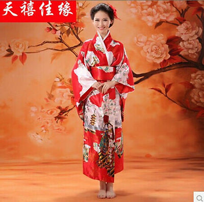 Red Japanese Kimono Yukata Haori Costume Retro Geisha Dress Obi Cosplay Gown