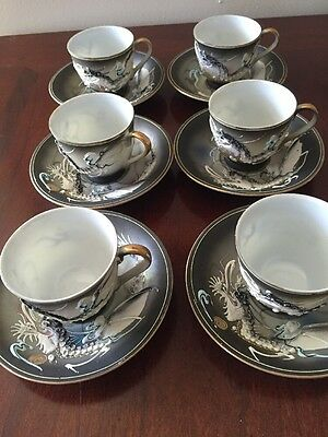 Satsuma Dragon Ware Service Tea Set Japan Betson hand painted 6 Cups And Saucers