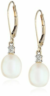 10k Yellow Gold Diamond Accent Freshwater Cultured Pearl Drop Earrings (10.5-11