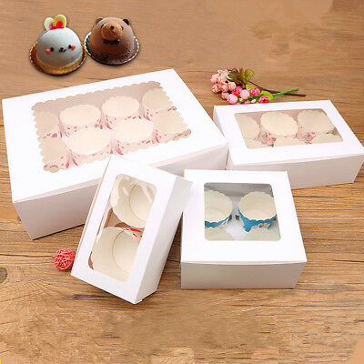 White Cupcake Box Cardboard Window Face Xmas Gift Boxes 1/4/6/12holes&2/4Handbox