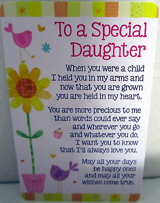 "Heartwarmer Keepsake Message Card ""to A Special Daughter"" Sweet Birthday Gift"